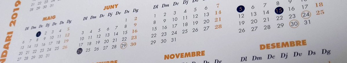 Calendari Laboral 2019 oficial per municipis