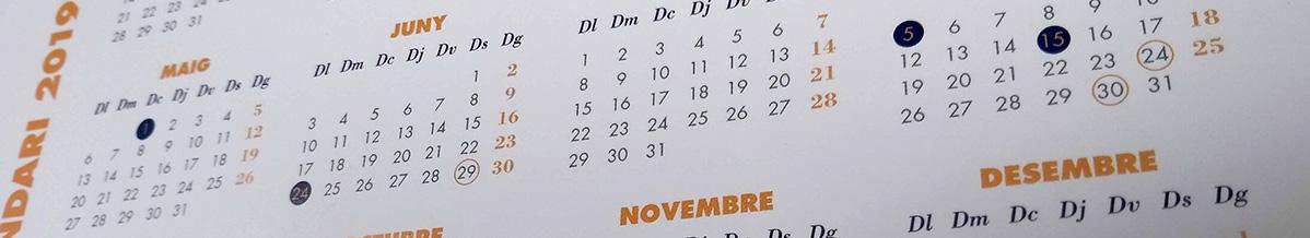 Calendari Laboral 2019 oficial per municipis