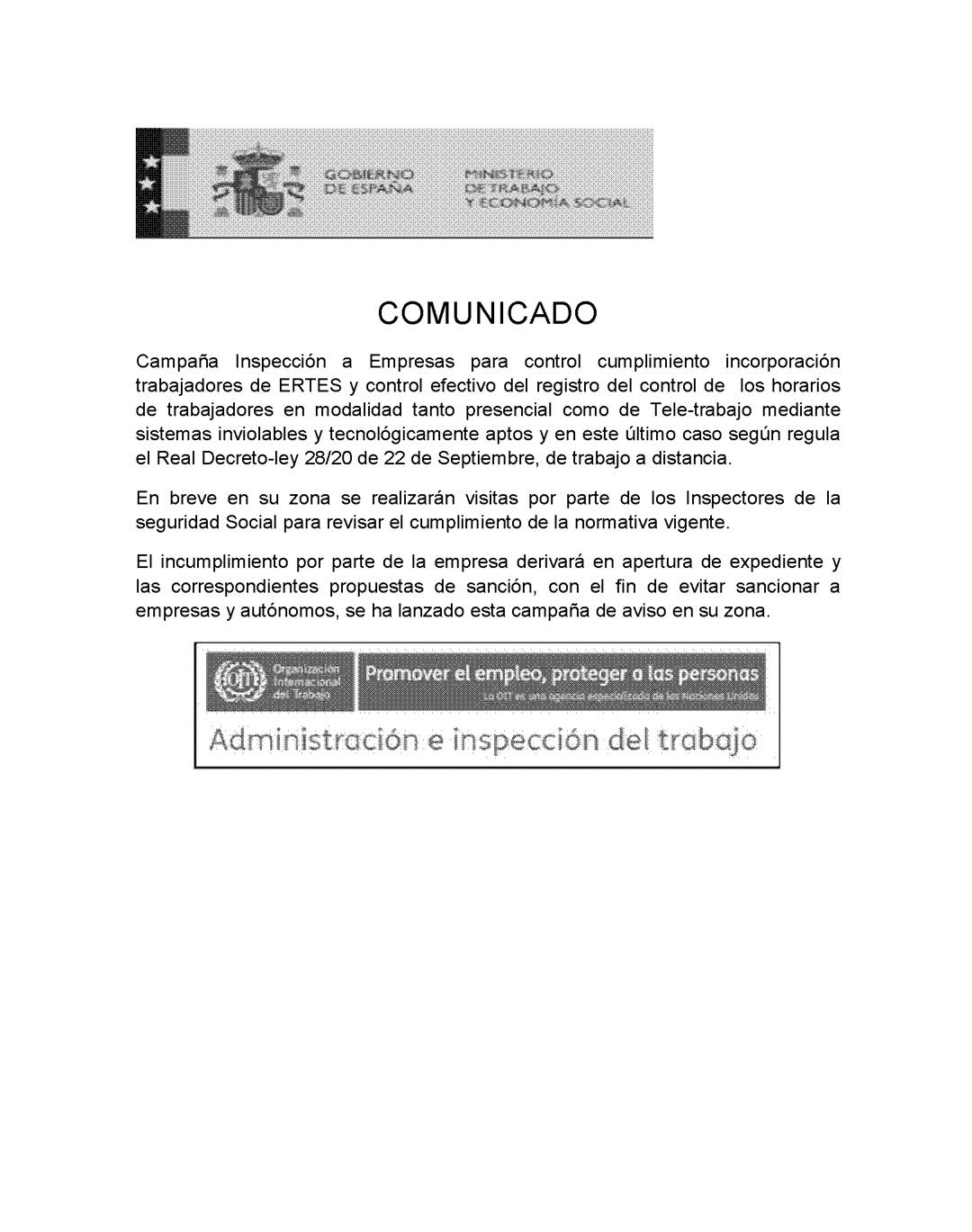 Comunicat oficial. Ministerio de Trabajo y Economía Social.